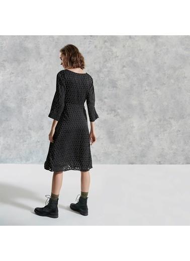 Yargıcı V Yakalı Kemerli Elbise Siyah